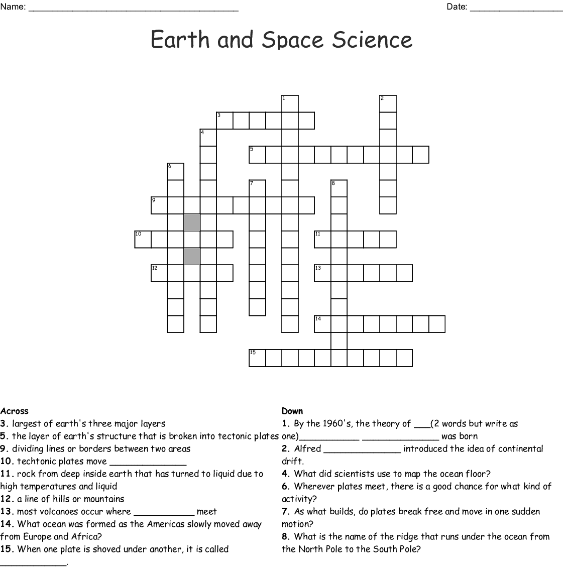hight resolution of earth and space science crossword