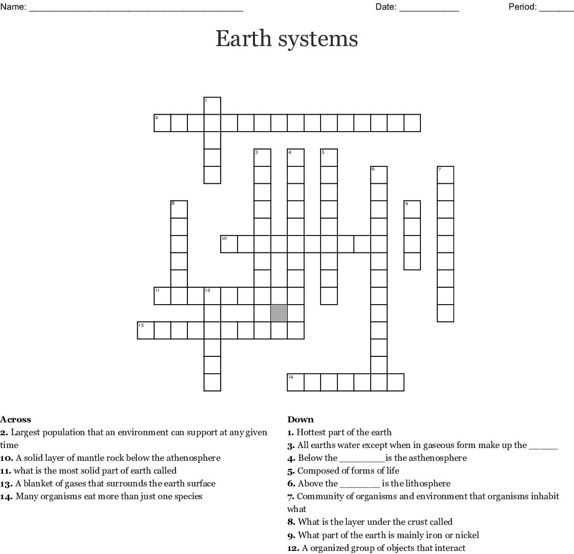 Earth Systems Crossword
