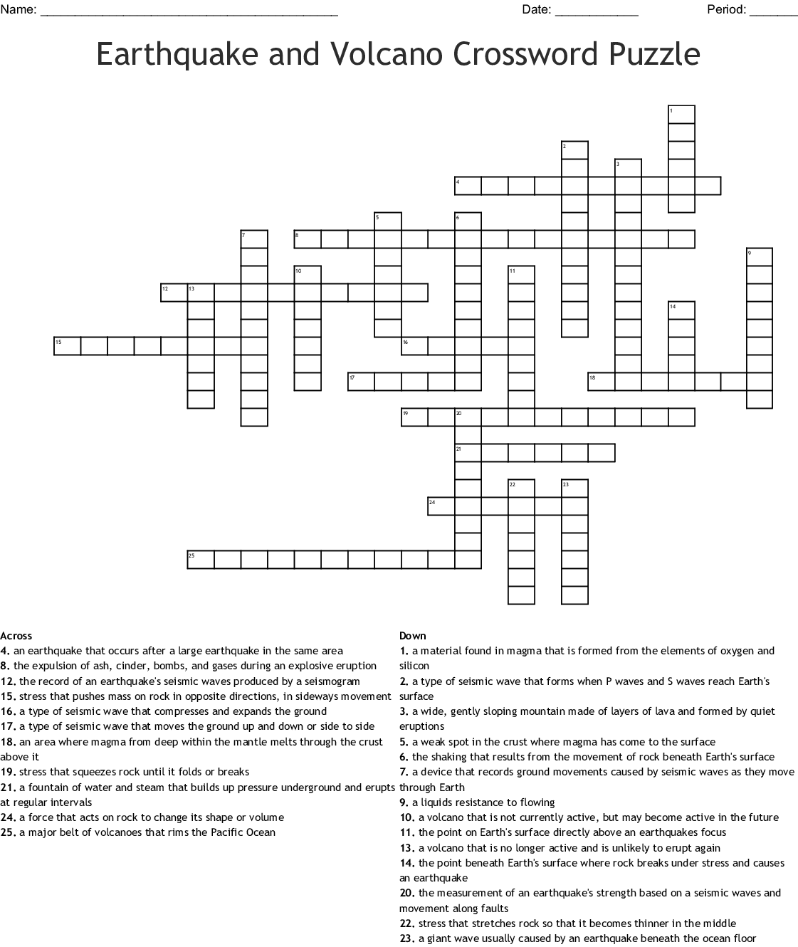 Earthquake And Volcano Crossword Puzzle