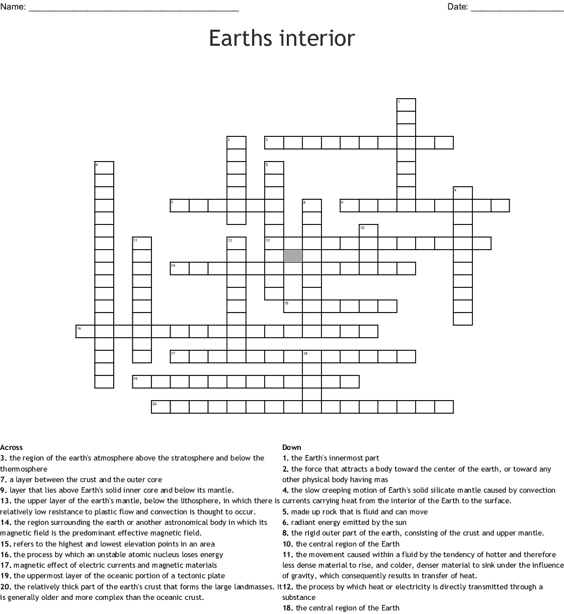 Interior Earth S Interior Worksheet 2 Answers