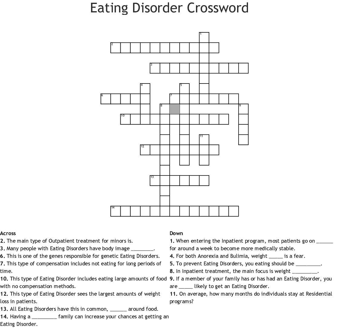 Eating Disorders Crosswords Word Searches Bingo Cards