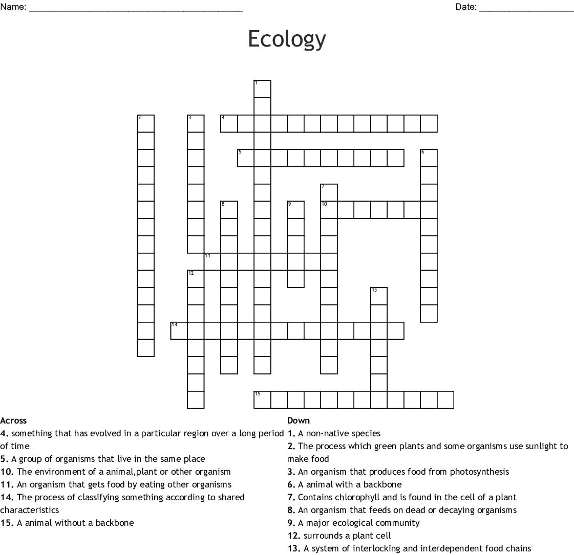 Environment Key Words Crossword