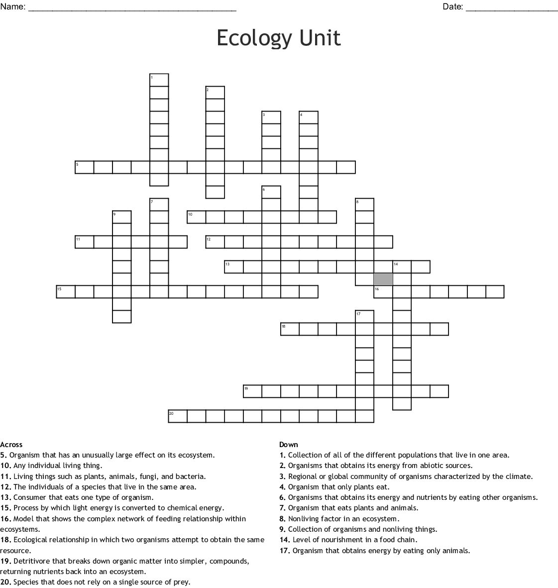 Ecology Unit Review Worksheet Answers