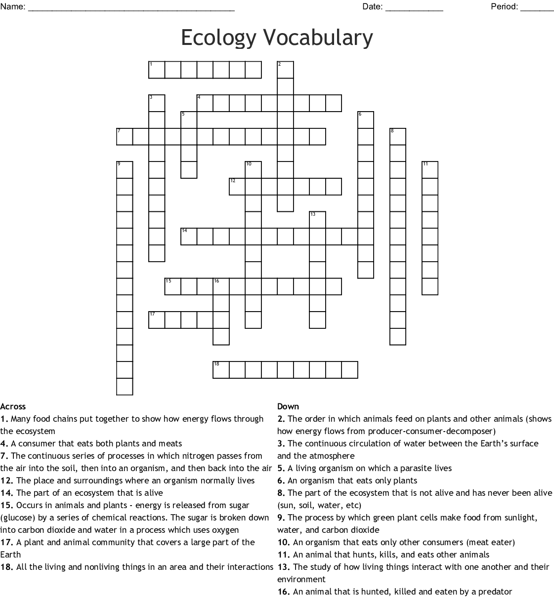 Ecology Vocabulary Crossword Puzzle Answer Key