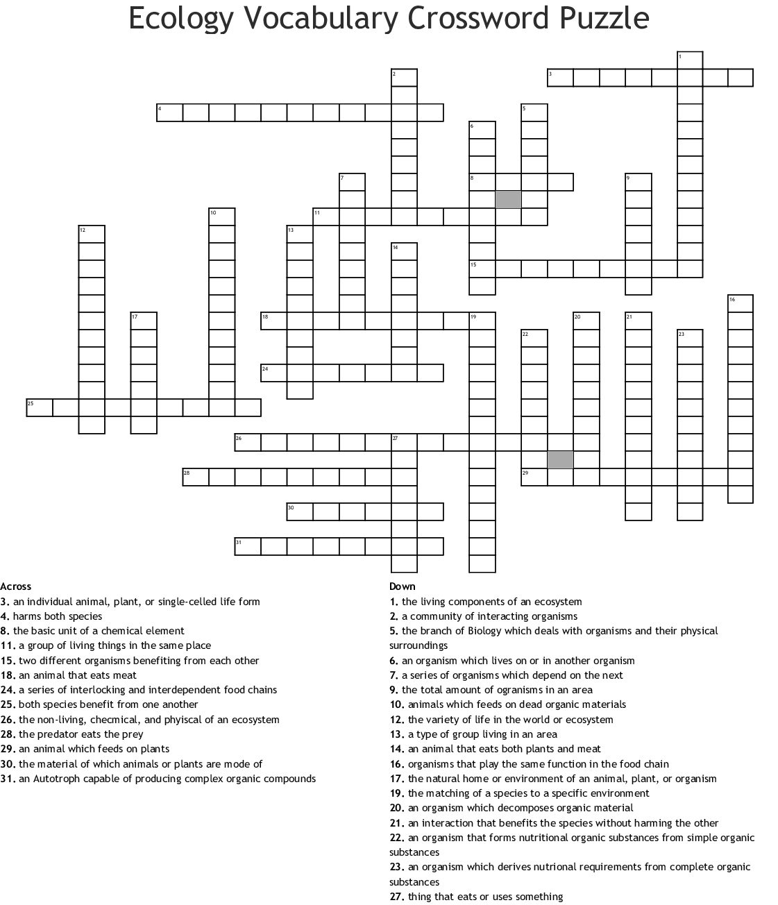 Ecology Vocabulary Crossword Puzzle