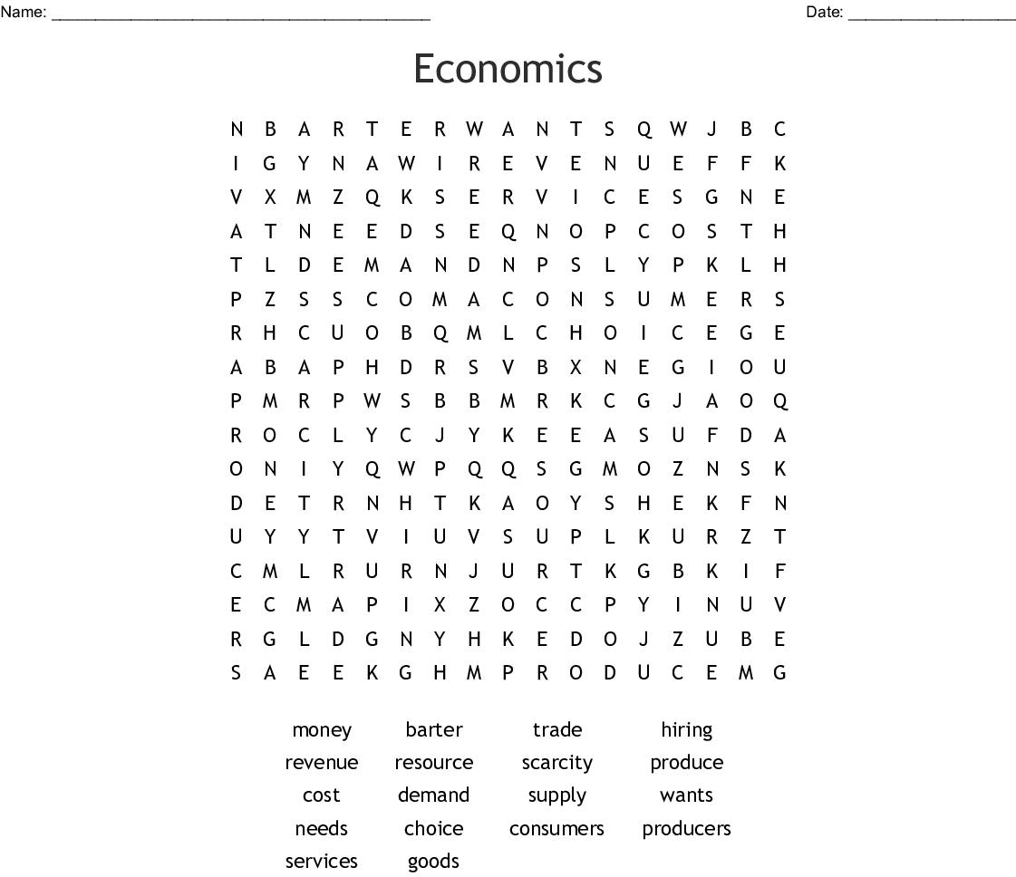 Economics Word Search