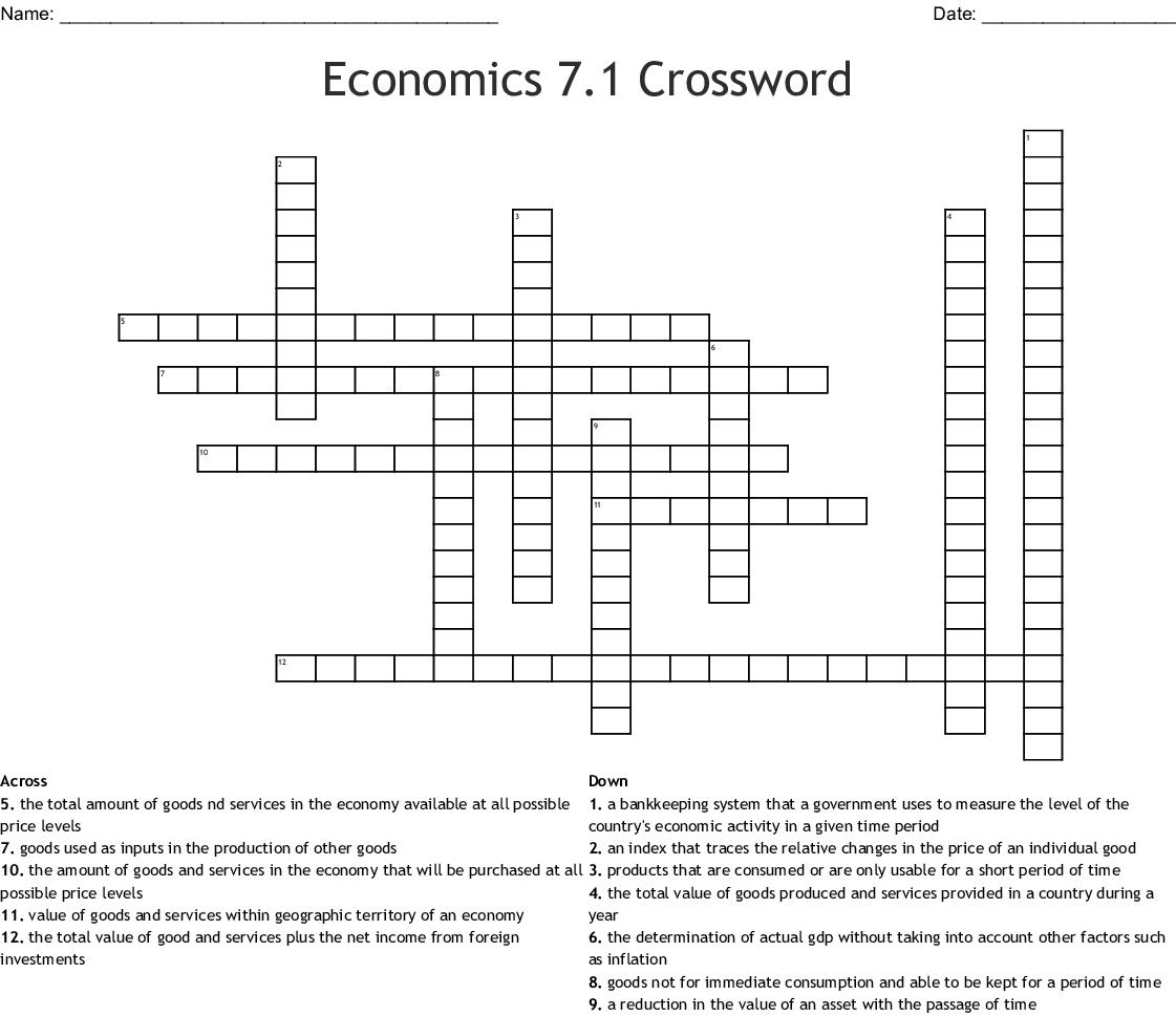 Economics 7 1 Crossword