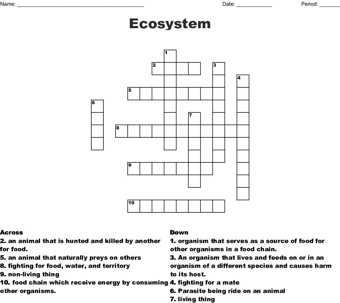 Answer Key Ecosystem Crossword Puzzle