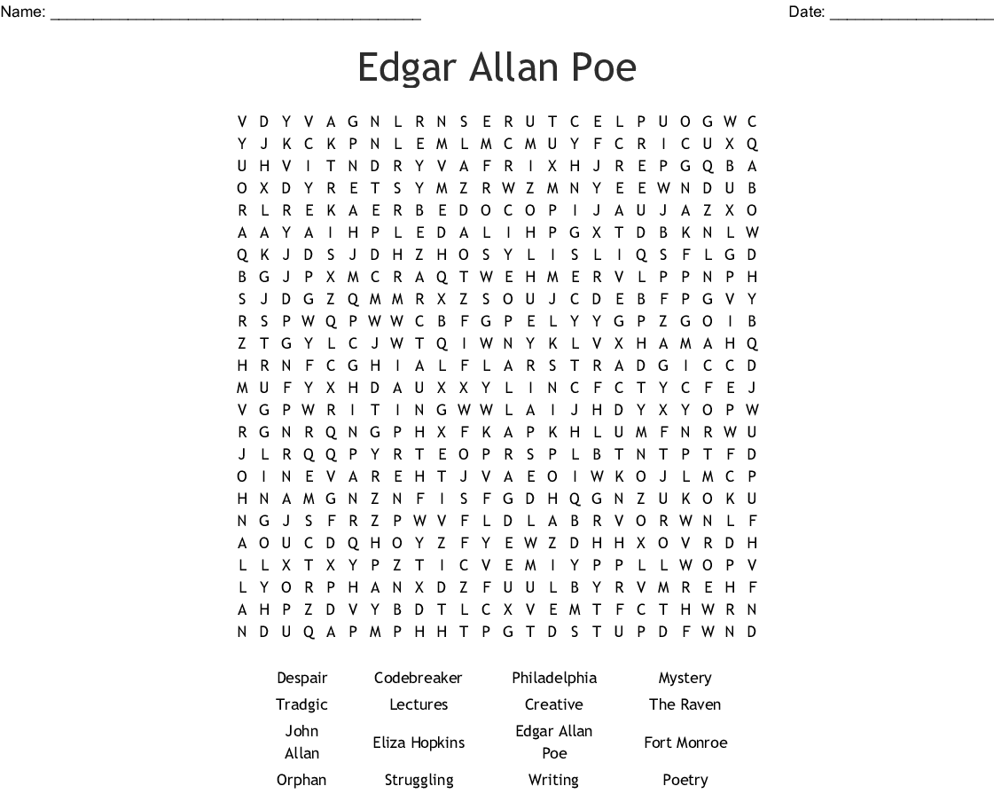 The Mystery Of Edgar Allan Poe Worksheet Answers