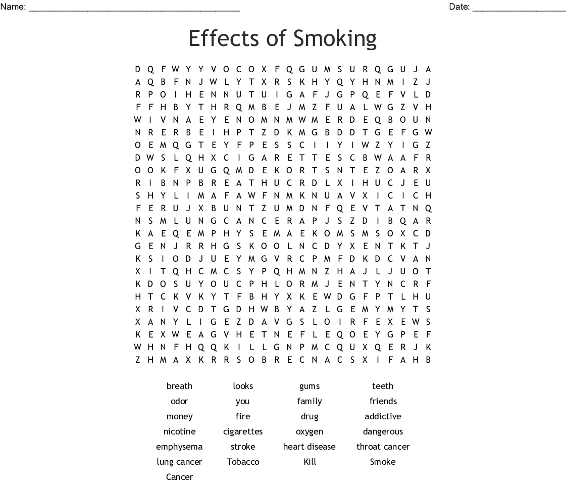 Effects Of Smoking Word Search