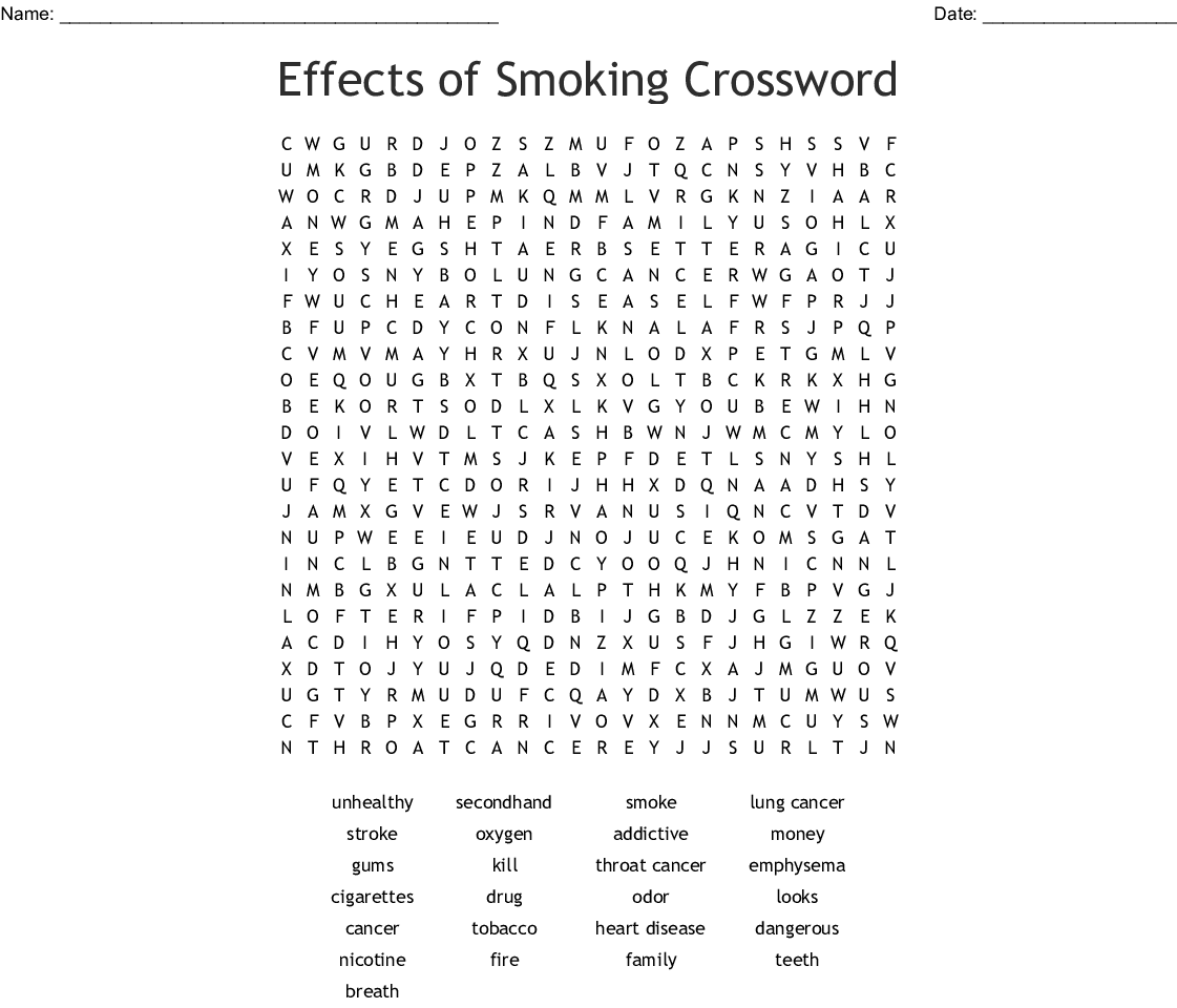 Effects Of Smoking Crossword Word Search