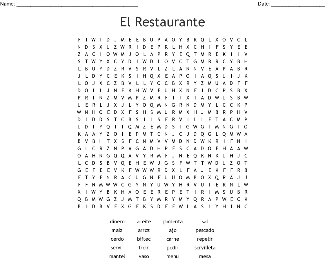 Vocabulario Capitulo 4 En El Restaurante Word Search