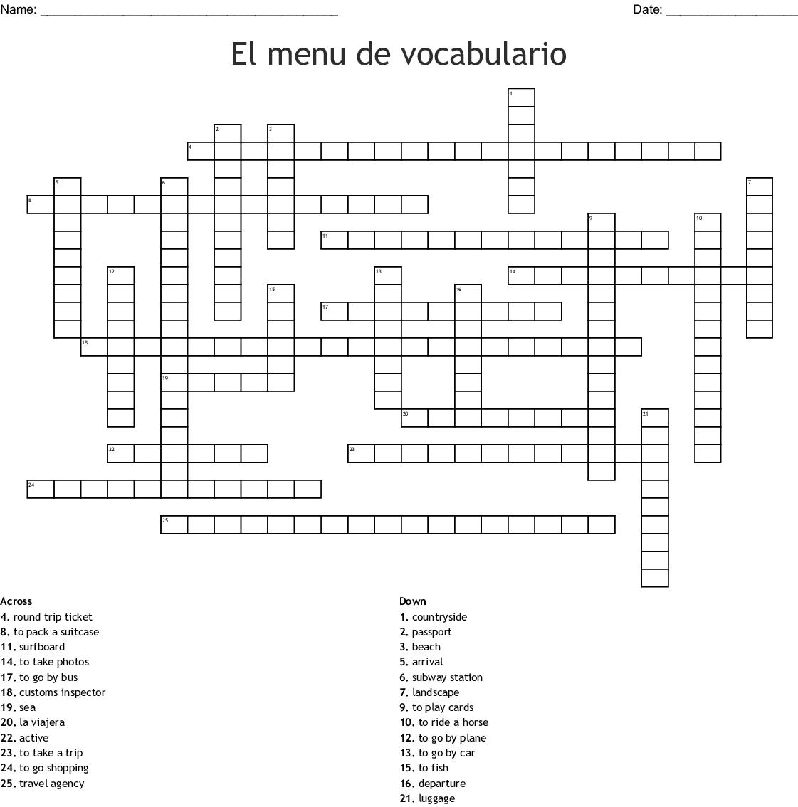El Menu De Vocabulario Crossword