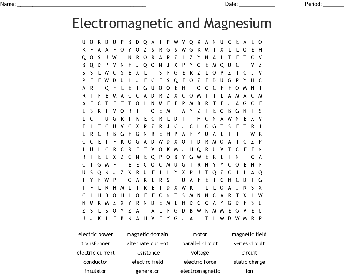 Electricity And Magnetism Word Search