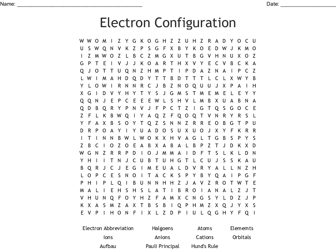 Electron Configuration Word Search