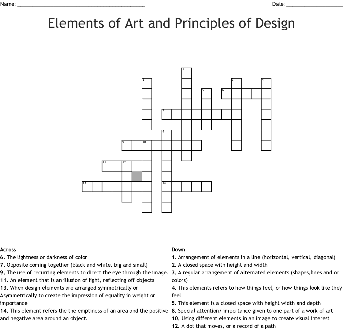 Elements Of Art Amp Principles Of Design Word Search