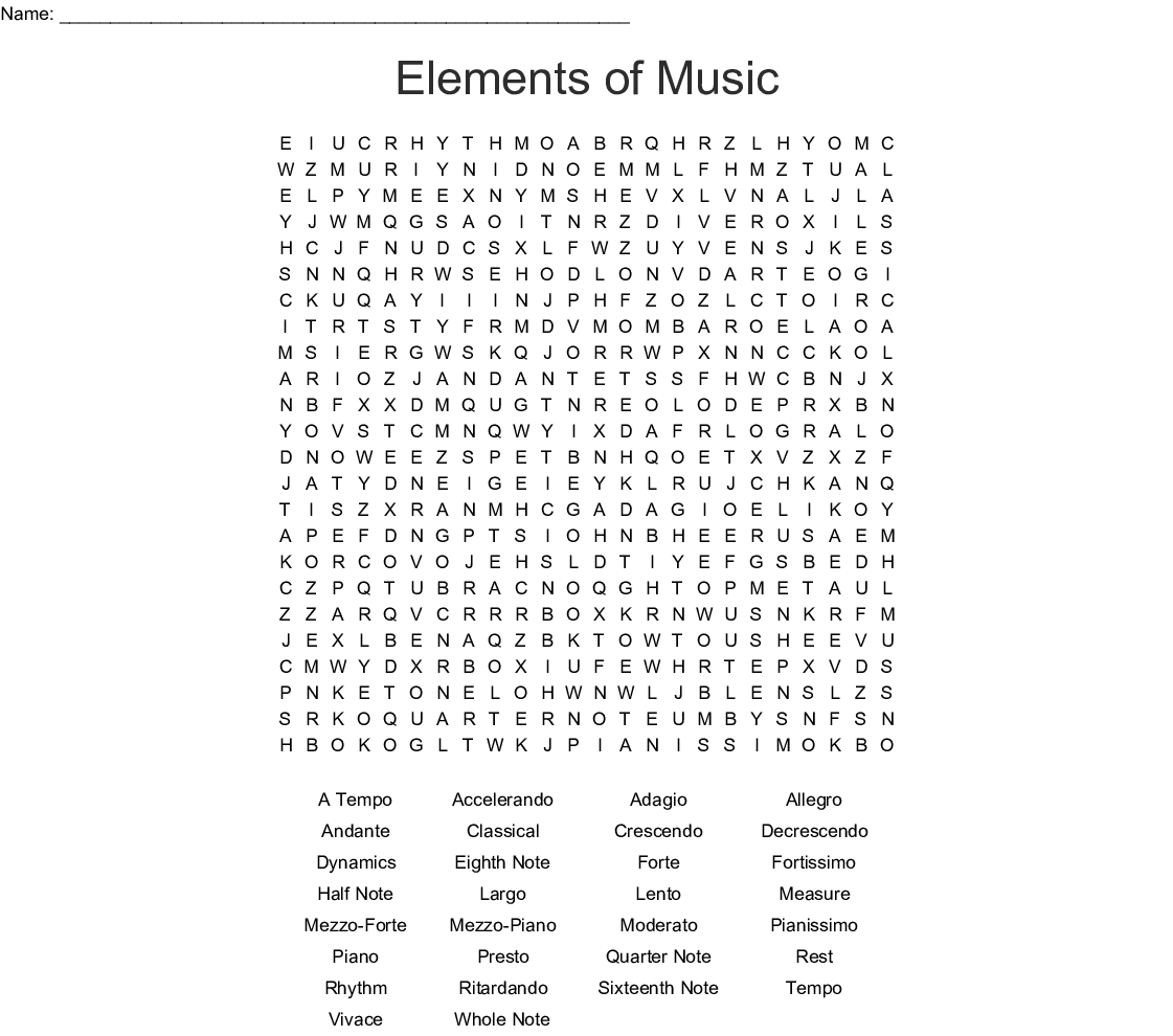 Elements Of Music Word Search