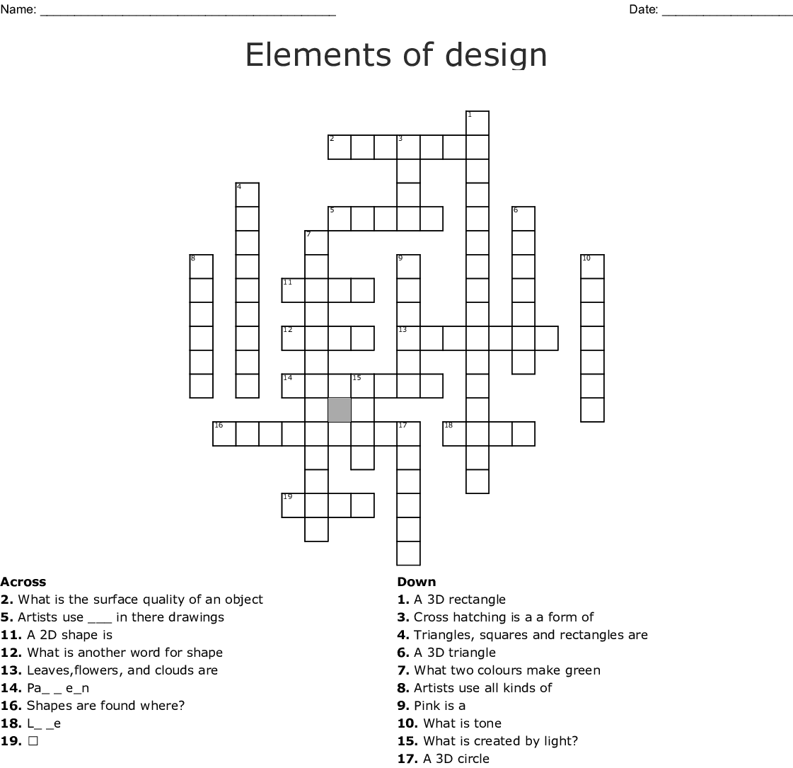 Elements And Principles Of Design Crossword Puzzle