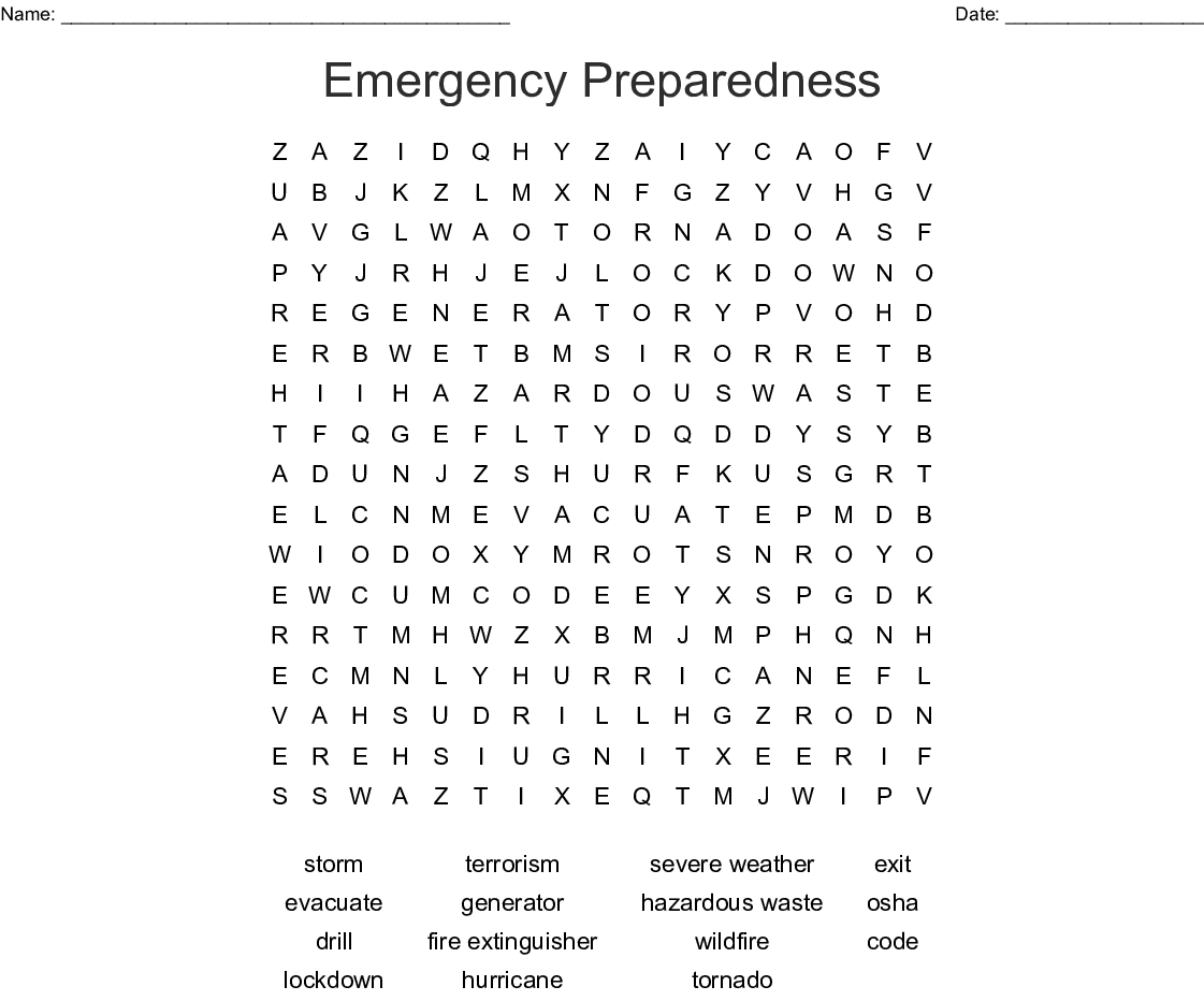 Emergency Preparedness Word Search