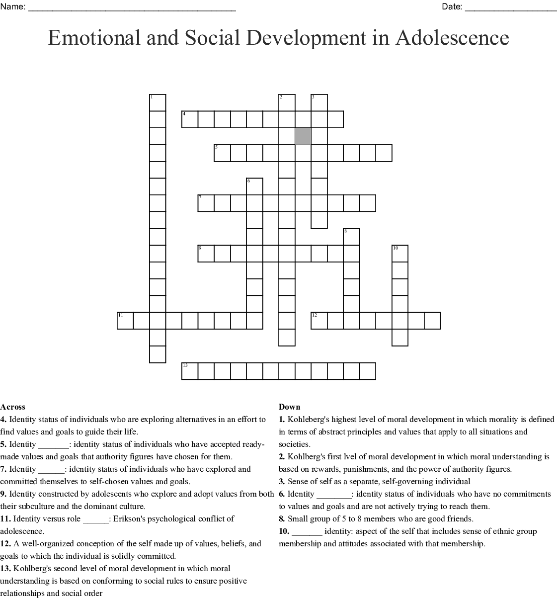 Emotional And Social Development In Adolescence Crossword