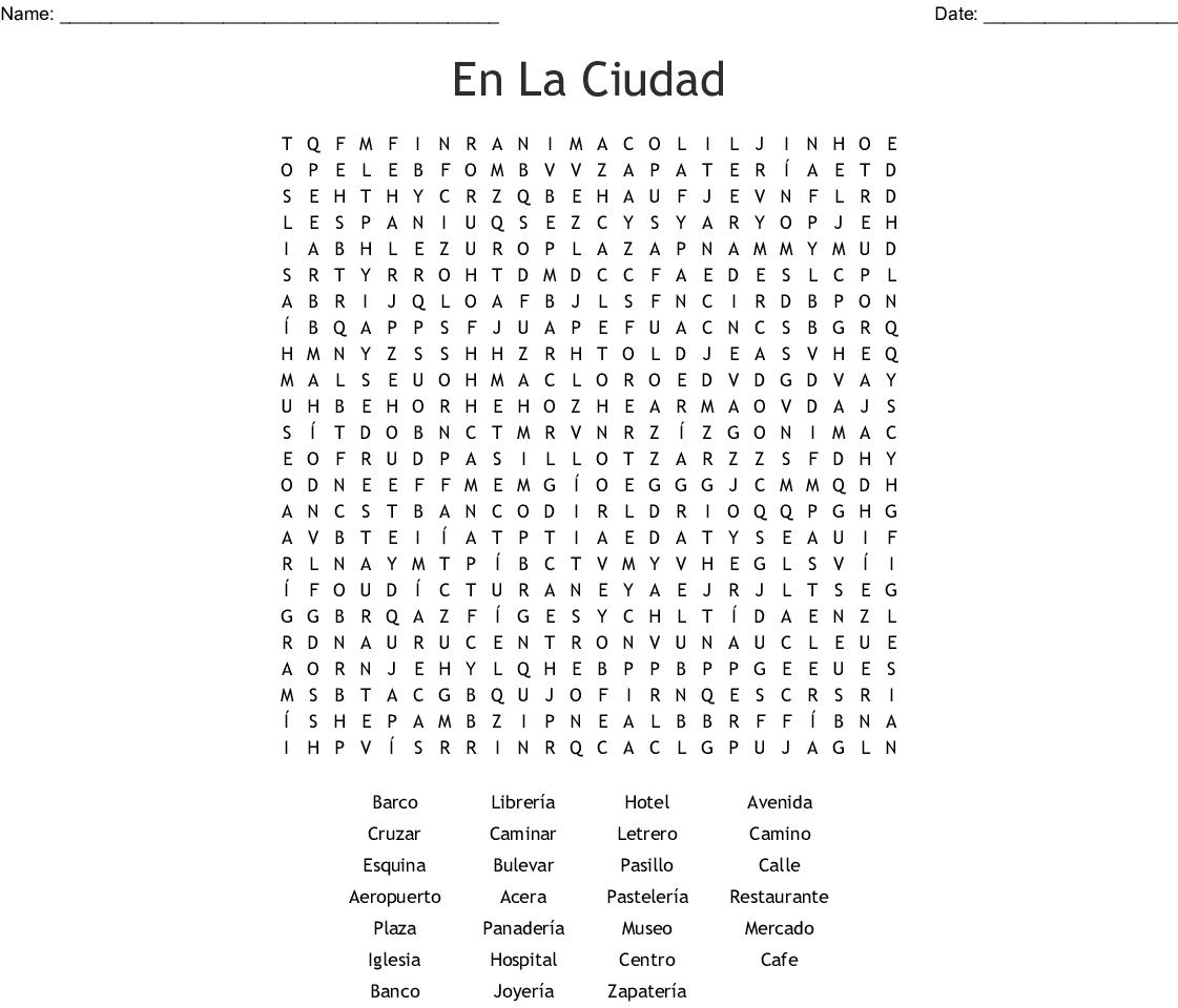En La Ciudad Word Search