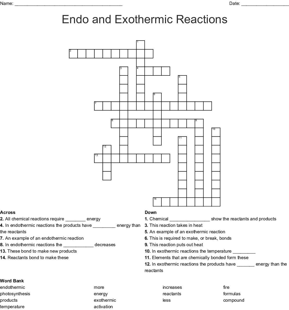 Endo And Exothermic Reactions Crossword