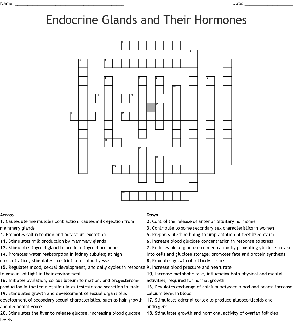 Endocrine Glands And Their Hormones Crossword