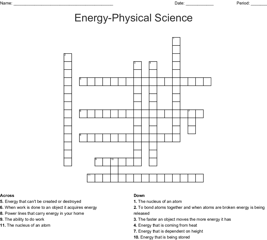 hight resolution of energy physical science crossword