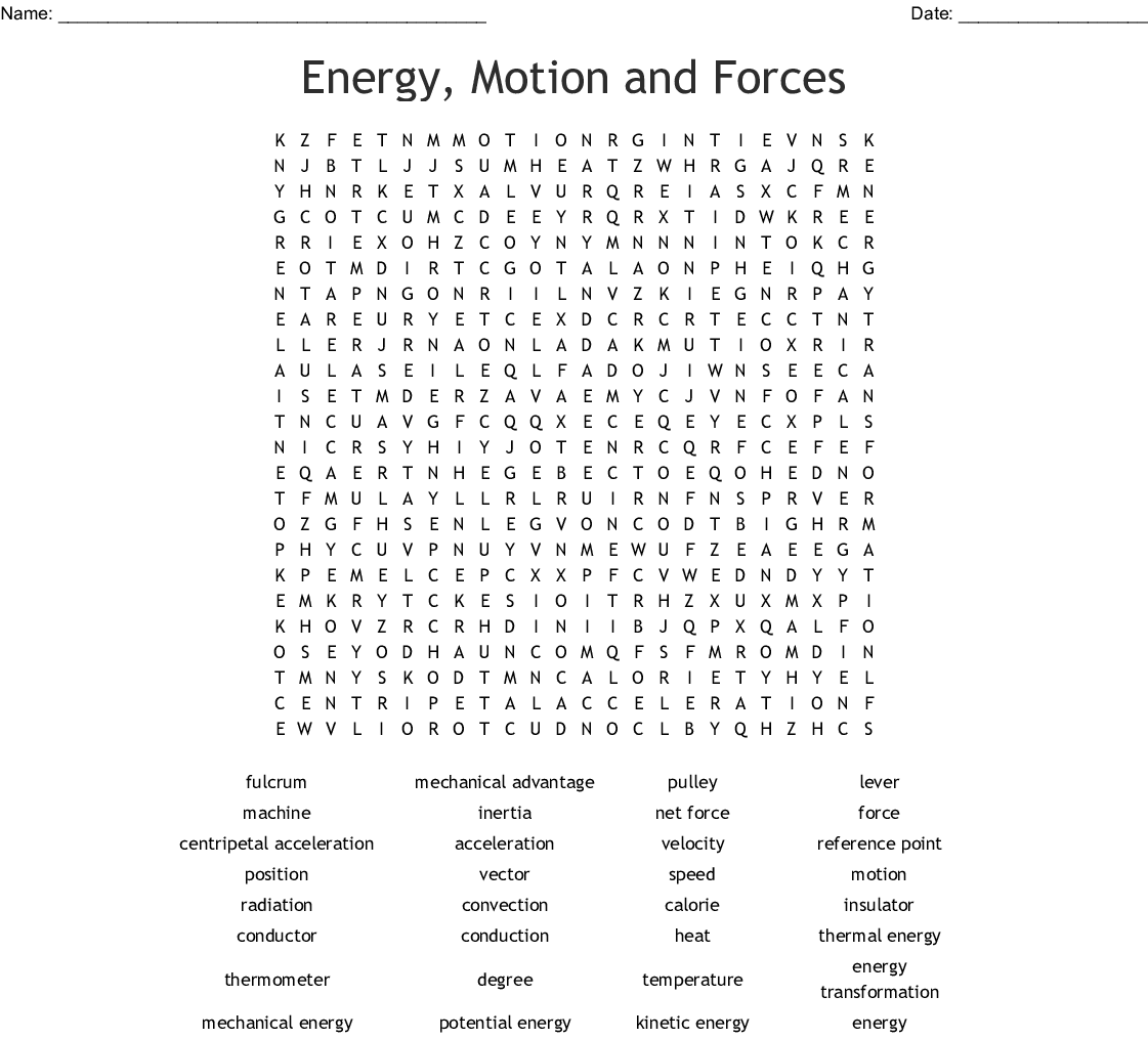 Energy Motion And Forces Word Search