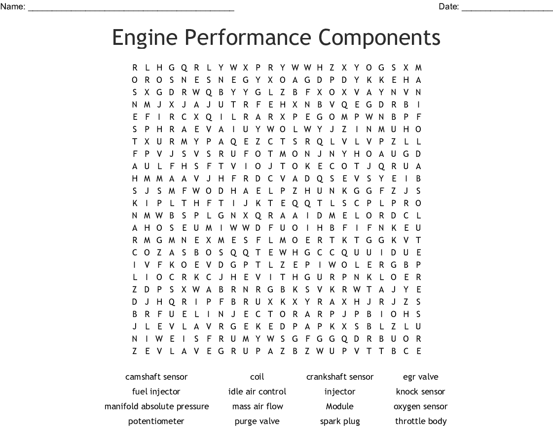 Small Engine Vocabulary Word Search