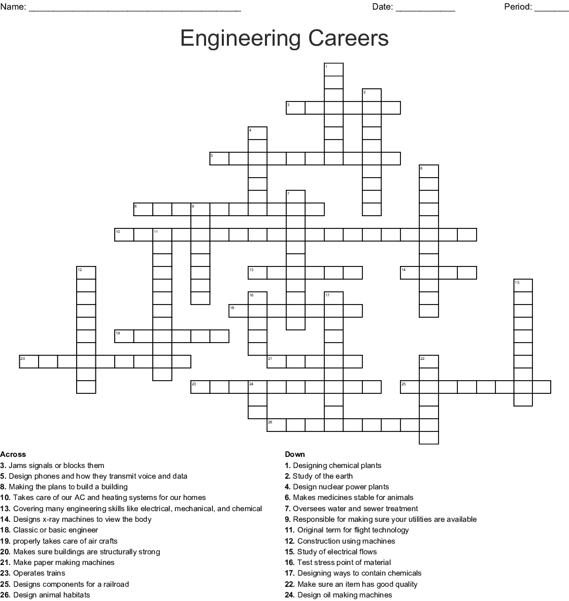Engineering Careers Crossword