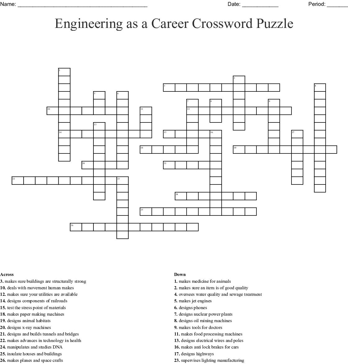 Types Of Engineers A Z Crossword