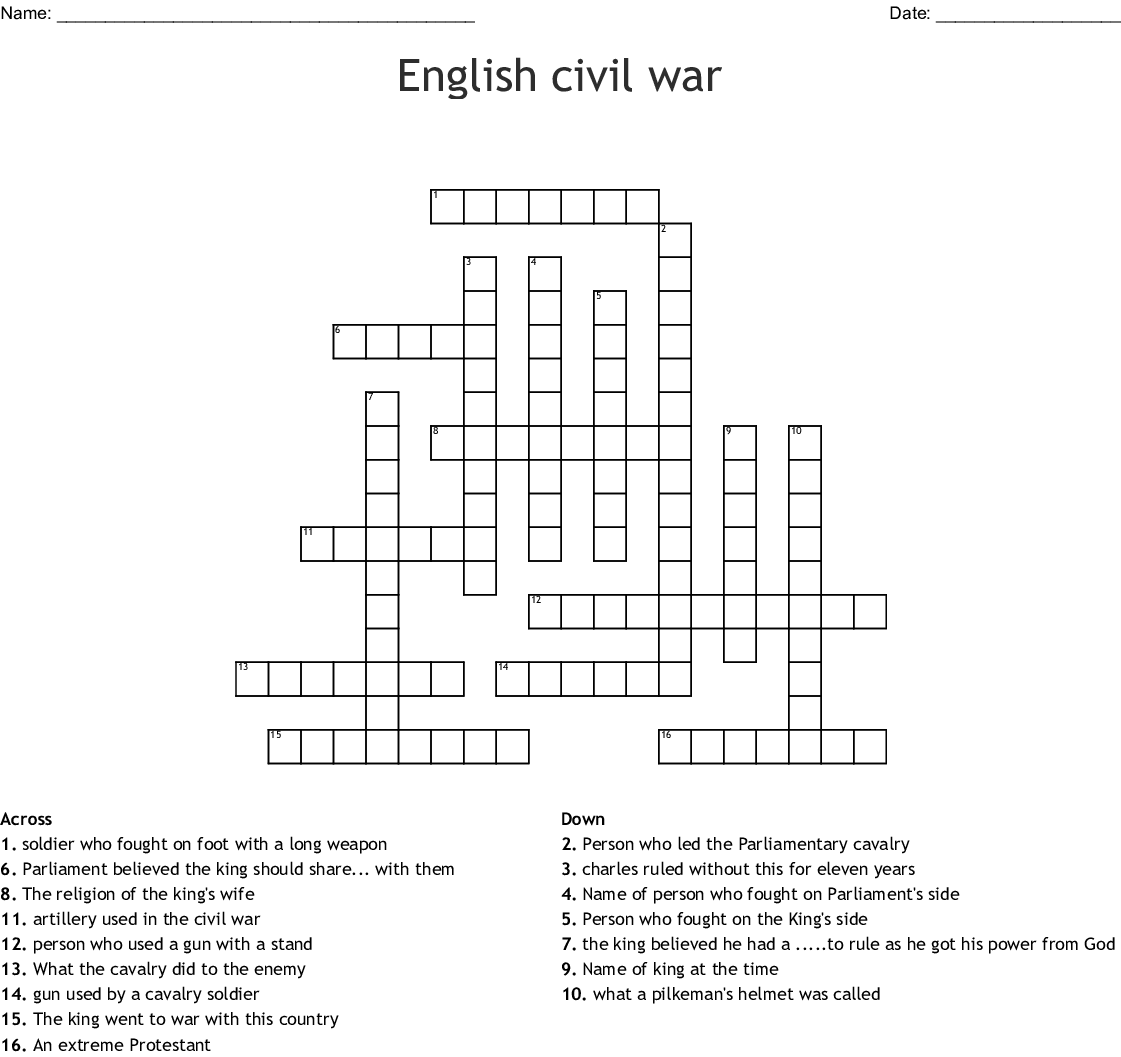 English Civil War Crossword