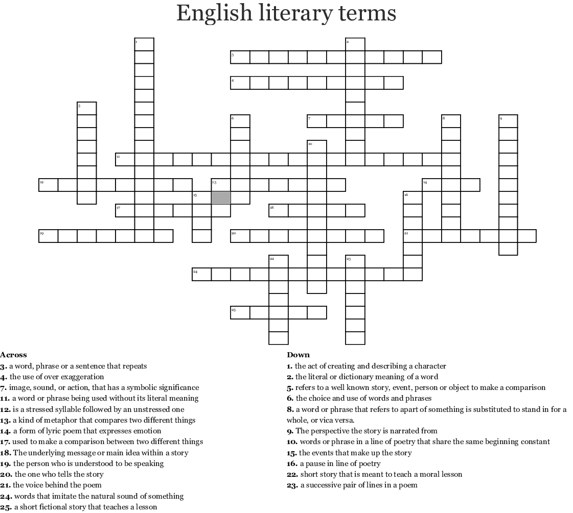 English Literary Terms Crossword