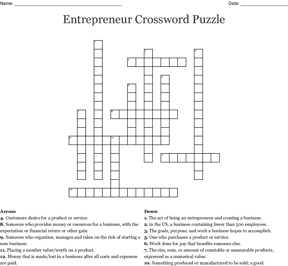 Chapter 7 Crossword Puzzle Answer Key