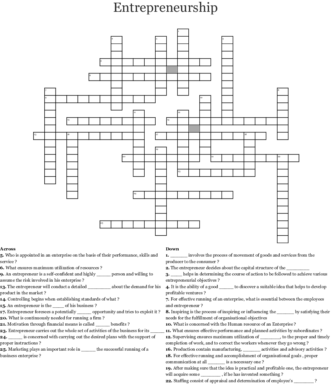 Hr Crossword Puzzles With Answers