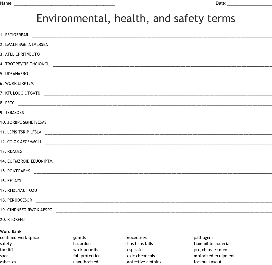 Environmental Health And Safety Terms Word Scramble