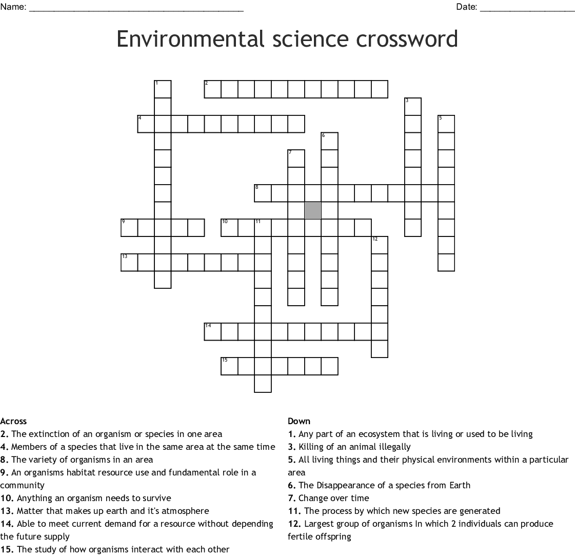 Ecology Crossword Puzzle
