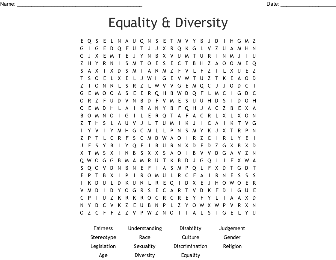 Equality Amp Diversity Word Search