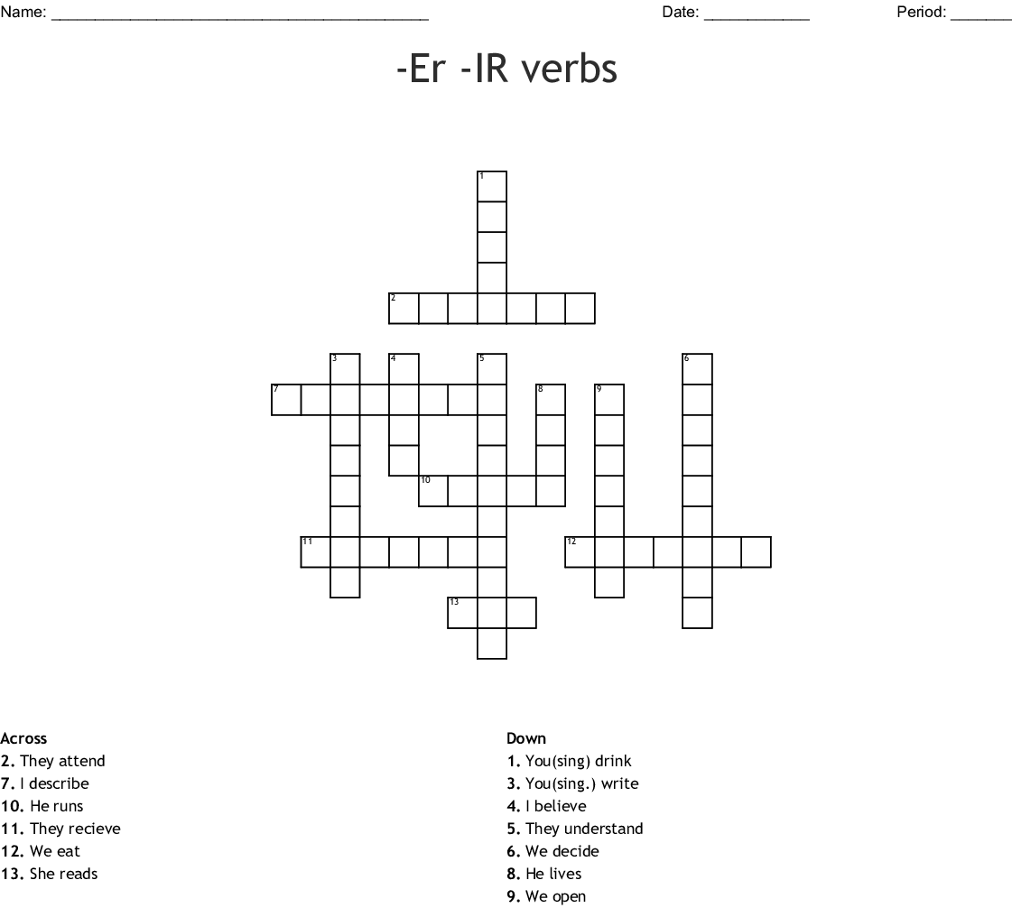 Estructura 33 Present Tense Of Er And Ir Verbs Crossword