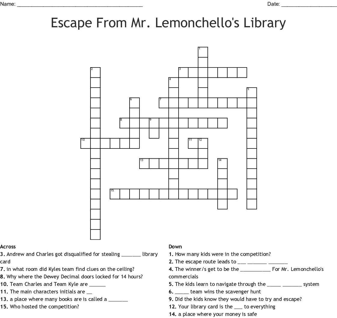 Escape From Mr Lemoncello S Library Word Search