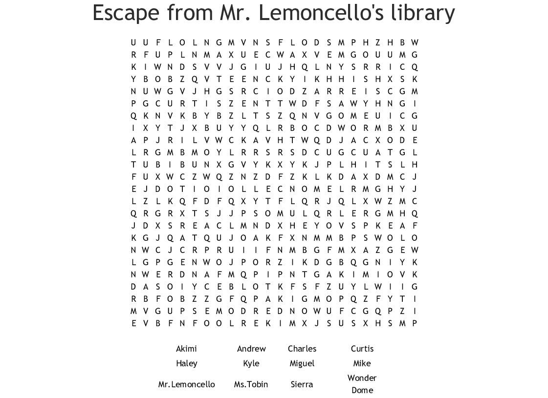Similar To Escape From Mr Lemoncello S Library Word