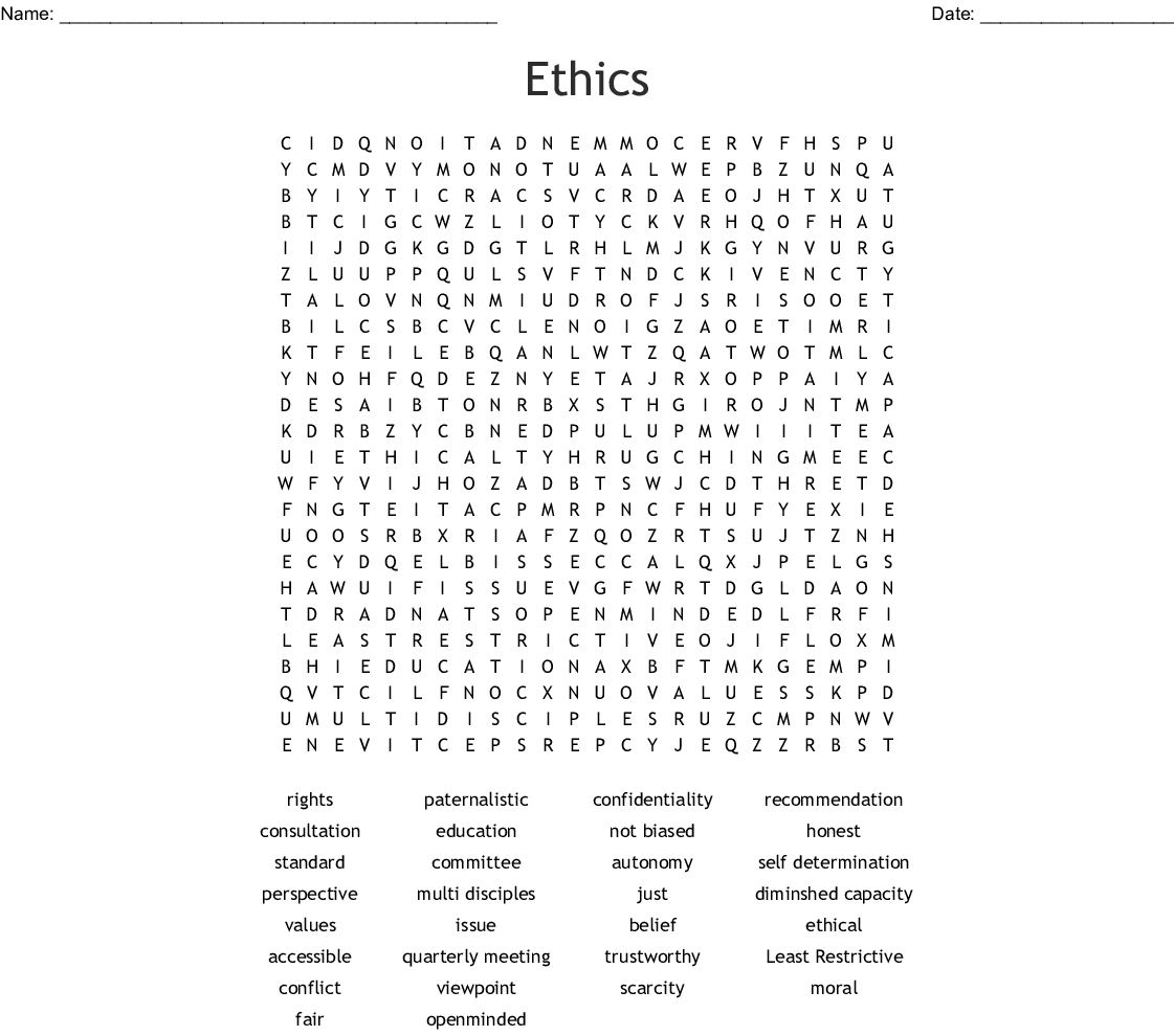 Ethics Terms Word Search