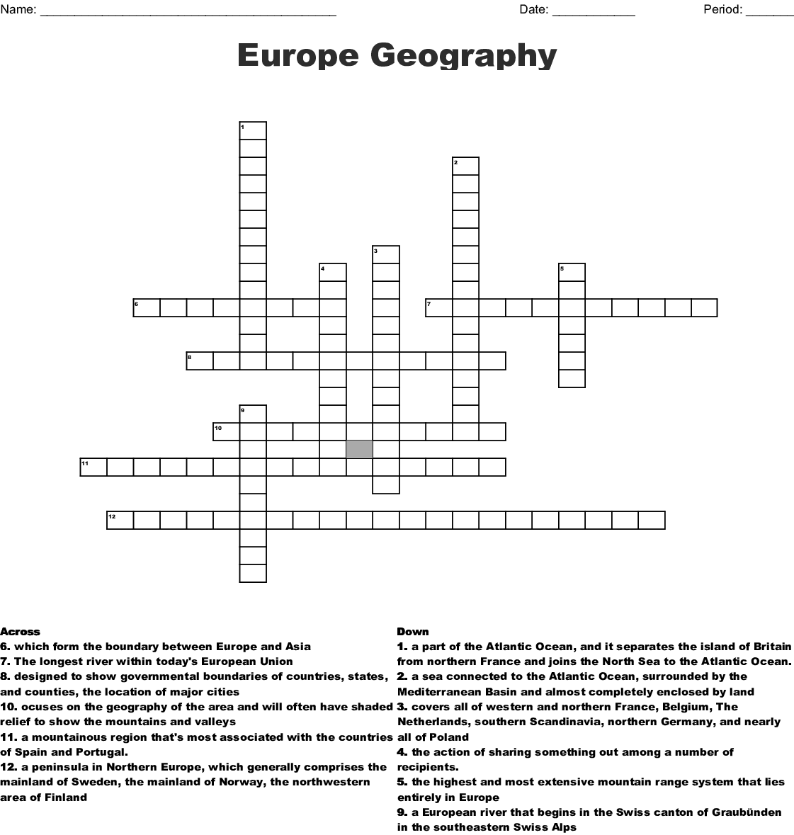 Europe Geography Crossword