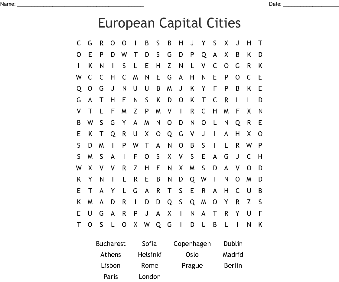 Cities In Europe Word Search