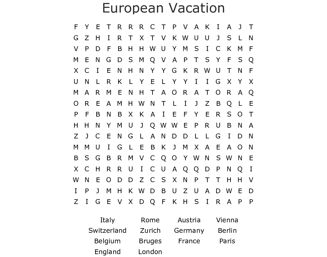 European Vacation Word Search