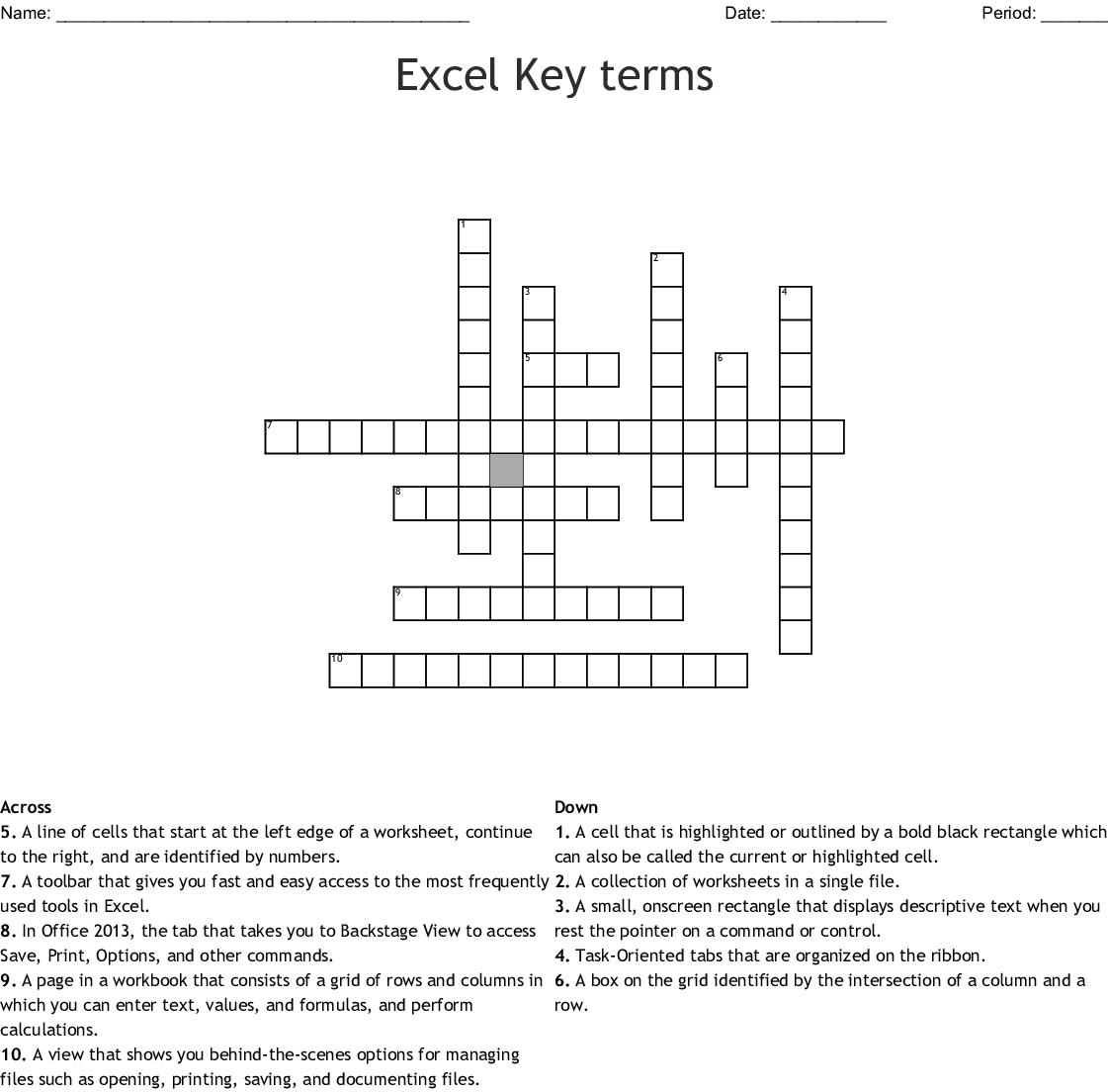Excel Vocabulary Crossword