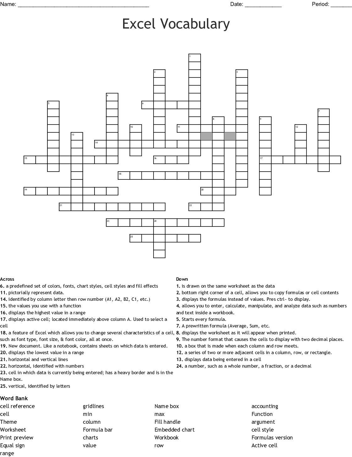 Microsoft Excel Vocabulary Words Crossword