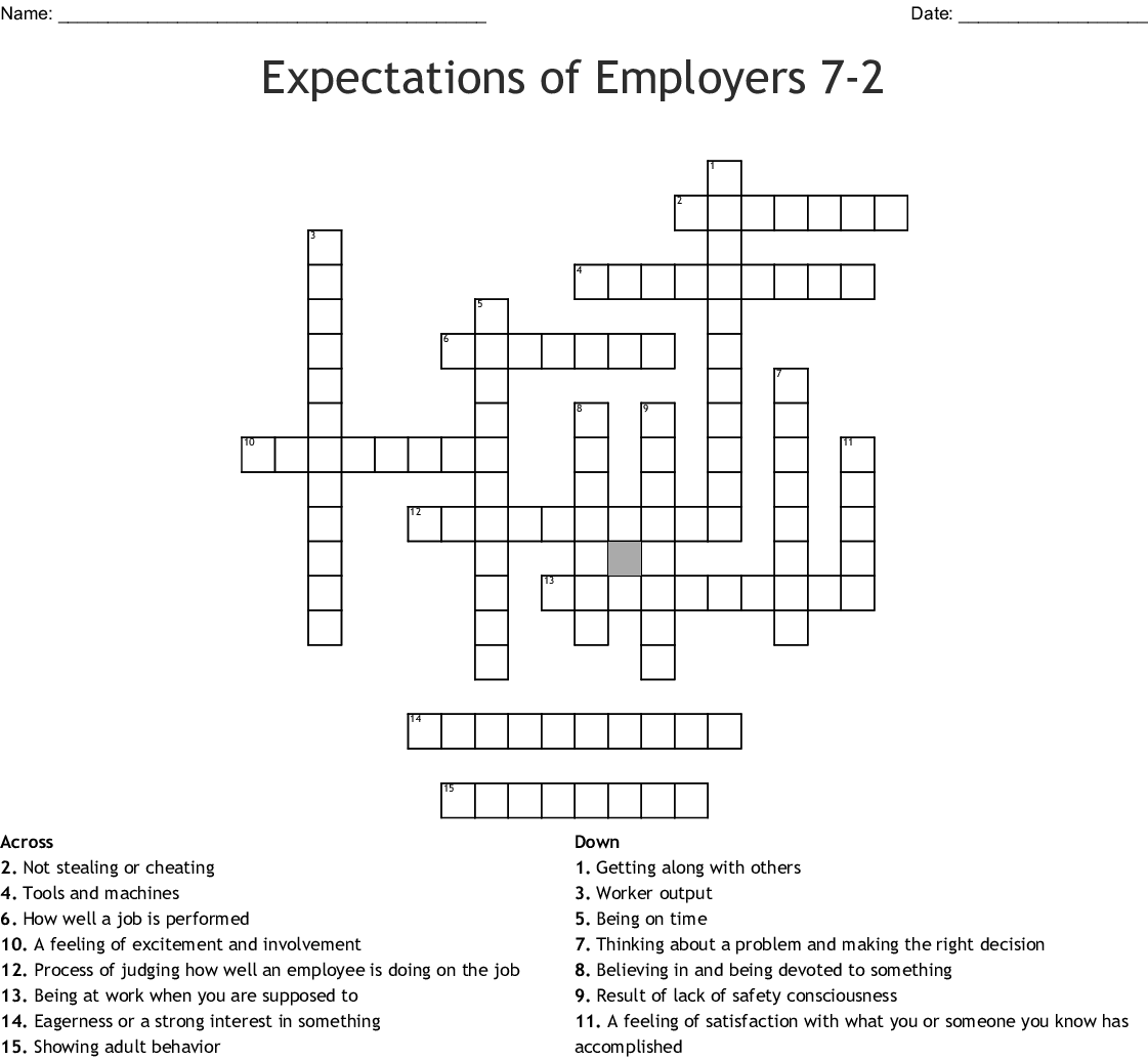 Expectations Of Employers 7 2 Crossword