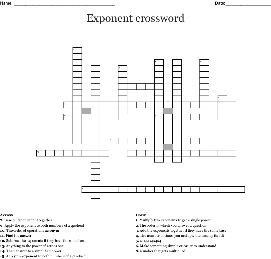 Exponents Word Search
